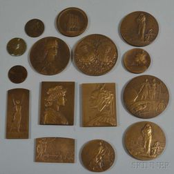 Group of Bronze WWI Commemorative Medals and Plaques