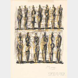 Henry Moore (British, 1898-1986)      Thirteen Standing Figures