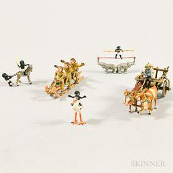 Five Miniature Cold-painted Bronze Scenes