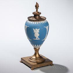 Gilt-metal-mounted Light Blue Jasper Dip Vase