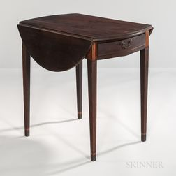 Inlaid Mahogany Oval-top Pembroke Table