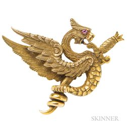 Art Nouveau 14kt Gold Watch Pin, Riker Bros.