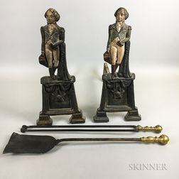 Polychrome George Washington Cast Iron Andirons and a Set of Ball-top Tools