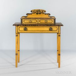 Diminutive Yellow-painted, Putty-painted, and Paint-decorated Dressing Table