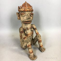 Pre-Columbian Polychrome Pottery Figure