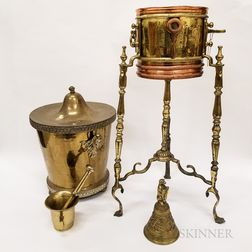 Brass Mortar and Pestle, Planter Stand, Bell, and Covered Container.     Estimate $200-250