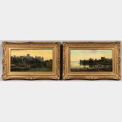 Patrick Allan Fraser (Scottish, 1813-1830)      Two Castle Landscapes: Windsor Castle and Castle Ruins