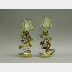 Pair of Porcelain Figural and Gilt Metal Boudoir Lamps
