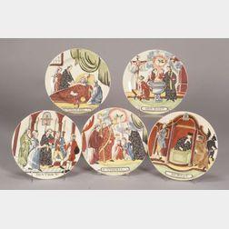 Five Shorthose Dutch Decorated Creamware Plates