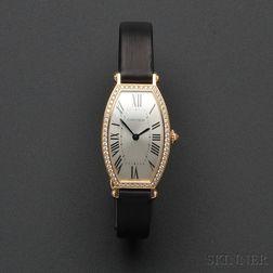"""18kt Rose Gold and Diamond """"Tonneau"""" Wristwatch, Cartier"""