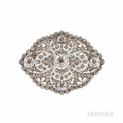 Belle Epoque Platinum and Diamond Pendant/Brooch