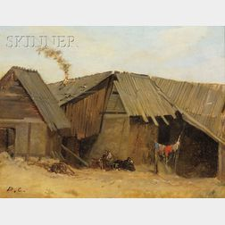 Alexandre Gabriel Decamps  (French, 1803-1860)      Peasant Shacks with Clothesline