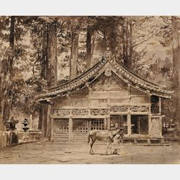 John La Farge (American, 1835-1910)      Stable of the Sacred Horses in the Temple Grounds of Iyeyasu, Nikko, c. 1888