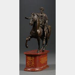 Grand Tour Bronze and Marble Equestrian Figure of Marcus Aurelius