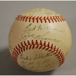 1948 Boston Red Sox Autographed Baseball