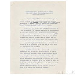 Kennedy, John Fitzgerald (1917-1963) Springfield College Commencement Address Notes, Academic Hood, and Mortarboard,   10 June 1956.