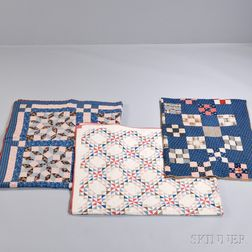 """Dutch Rose"" Pattern Quilt and Two Geometric Pattern Quilts"