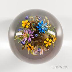 Ken Rosenfeld Flowers with Serpent Paperweight