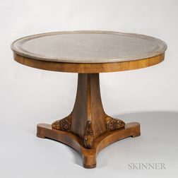 Neoclassical-style Marble-top and Mahogany-veneered Center Table