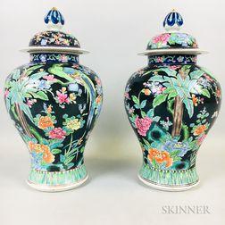 Pair of Famille Noir Covered Ginger Jars