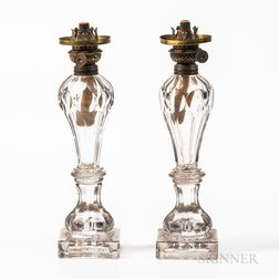Pair of Blown Molded Colorless Glass Fluid Lamps