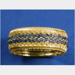 18kt Bi-color Gold and Sapphire Cuff Bracelet