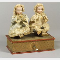Manivelle Automaton with Twin Gebruder Heubach Bisque Laughing Character Babies