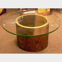 Modern Circular Glass-top Laminated Bentwood Table