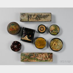 Nine Assorted 19th Century Decorated Papier-mache Snuff and Small Boxes