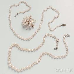 Two Cultured Pearl Necklaces and a Cluster Brooch