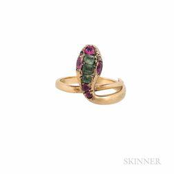Gold Gem-set Snake Ring