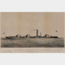 Probably Thomas Bonar, lithographer (New York, 19th Century) U.S. STEAM FRIGATE ROANOKE, BUILT-1852: Razeed at the Brooklyn Navy Yar...