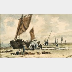 Eugène Boudin (French, 1824-1898)      Fishing Ketch on the Shore