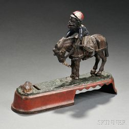 """Painted Cast Iron Mechanical """"Always Did Spise a Mule"""" Bank"""