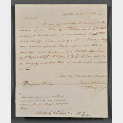 Revere, Joseph Warren (1777-1868) Autograph Letter Signed, 15 September 1803.