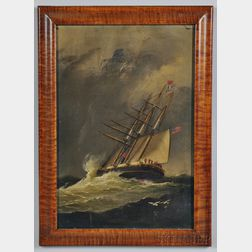 American School, Late 19th Century      Ship in High Seas