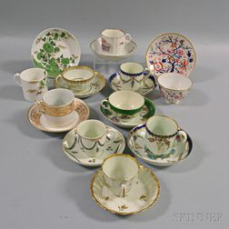 Ten Early English Porcelain Cups and Saucers