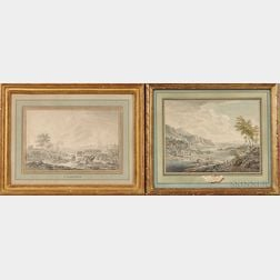 Two Framed 18th Century Dutch Works on Paper:    Attributed to Gerard Melder (Dutch, 1693-1754), The Banks of the Rhine