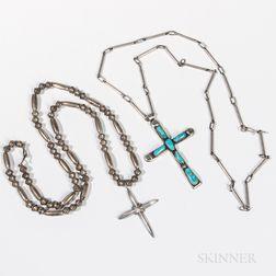 Two Silver Navajo Cross Necklaces