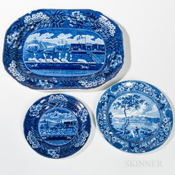 Three Staffordshire Historical Blue Transfer-decorated Table Items