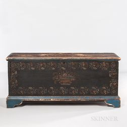 Stencil-decorated Six-board Chest