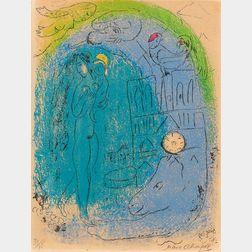 Marc Chagall (Russian/French, 1887-1985)      Mère et enfant devant Notre-Dame