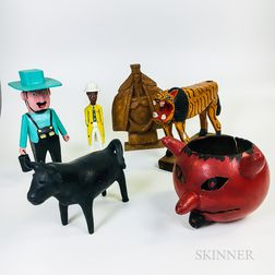 Six Mostly Carved and Painted Wood Outsider Art Figures