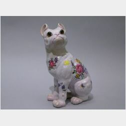 Emile Galle French Faience Bulldog Figure.