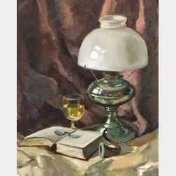 Stephen George Maniatty (American, b. 1910)    Still Life with a Book and Lamp