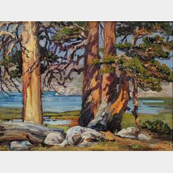 Eugene Pierre Franquinet  (American, 1875-1940)      Landscape with Redwoods, Five Lakes Basin, Sierra Nevada, California
