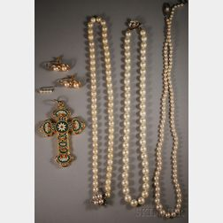 Italian Micromosaic Cross Pendant and a Small Group of Pearl Jewelry