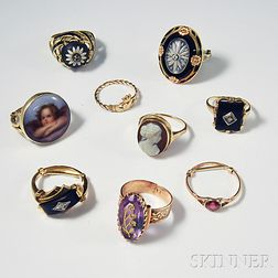 Nine Antique and Art Deco Rings