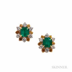 Emerald, Colored Diamond, and Diamond Earclips, Oscar Heyman