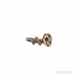 Antique Gold, Ruby, and Diamond Snake Ring